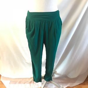 Free People Lightweight Green Cropped Harem Pants